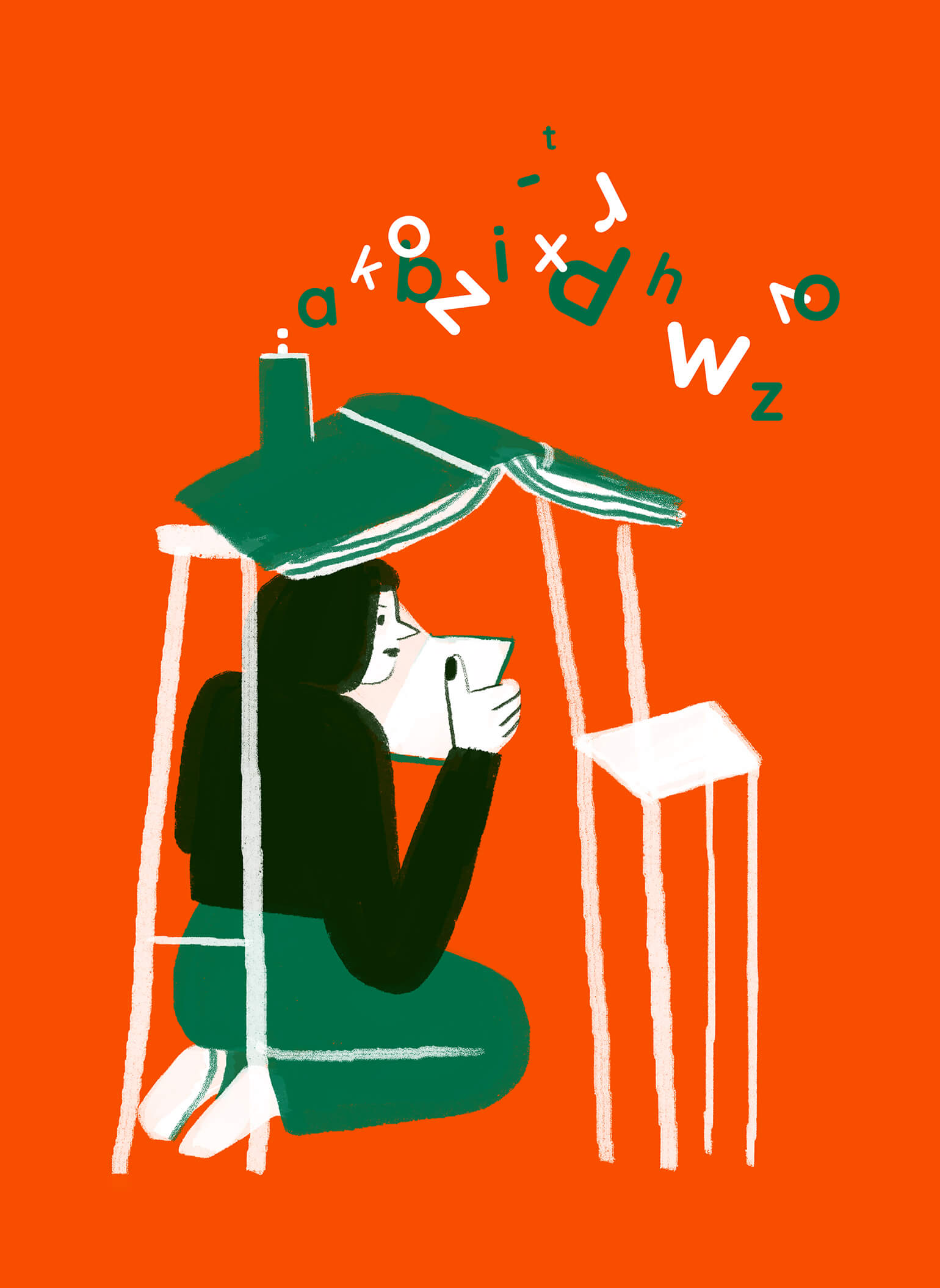 sunday-reading-woman-book-typography-chair