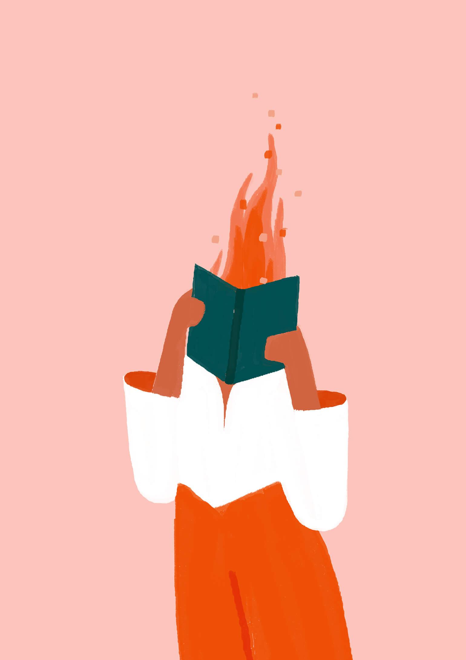 reading-on-fire-woman-illustration-violeta-noy