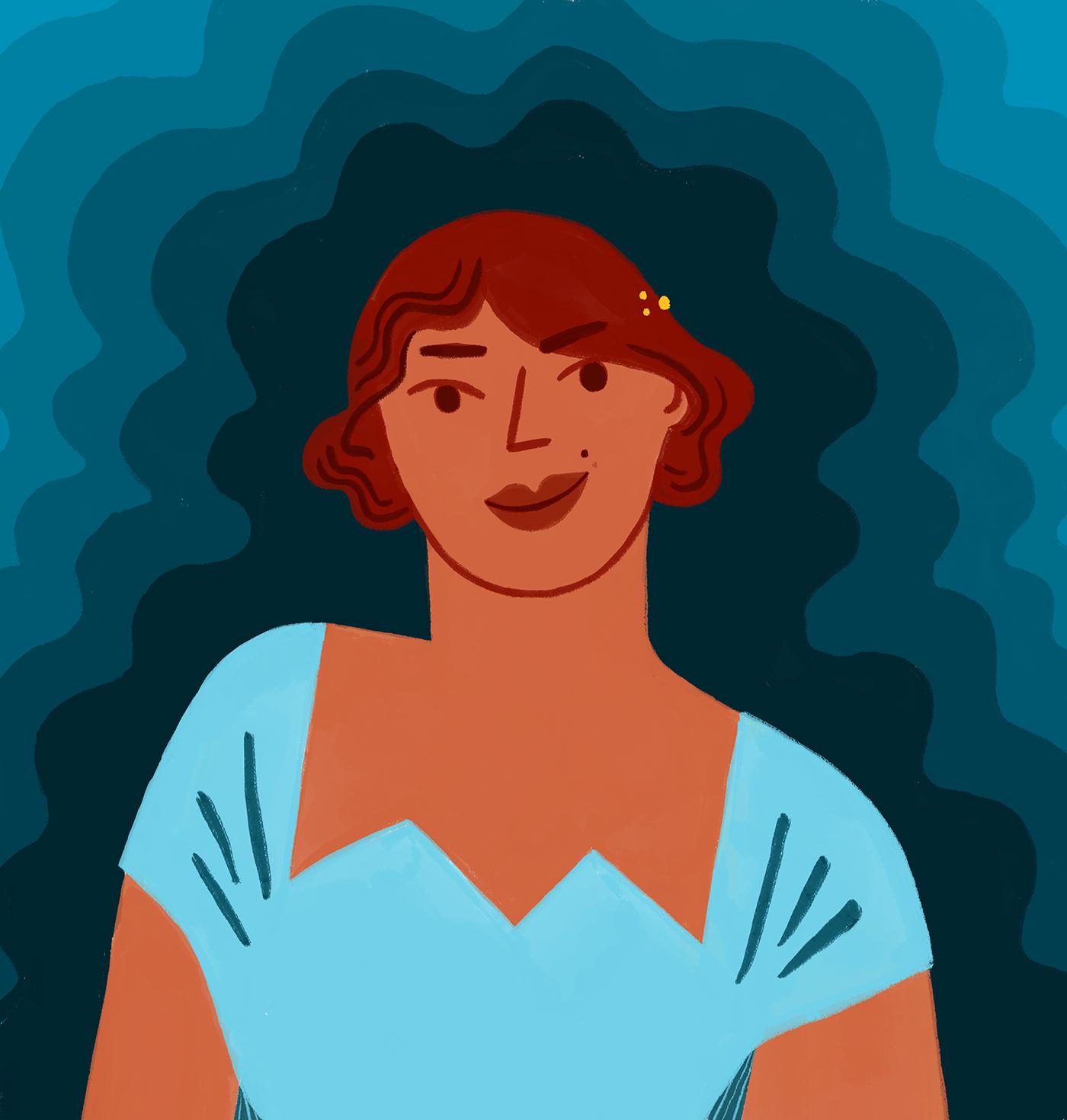 woman-star-vintage-dress-gucci-fashion-illustration-portrait-blue-violeta-noy
