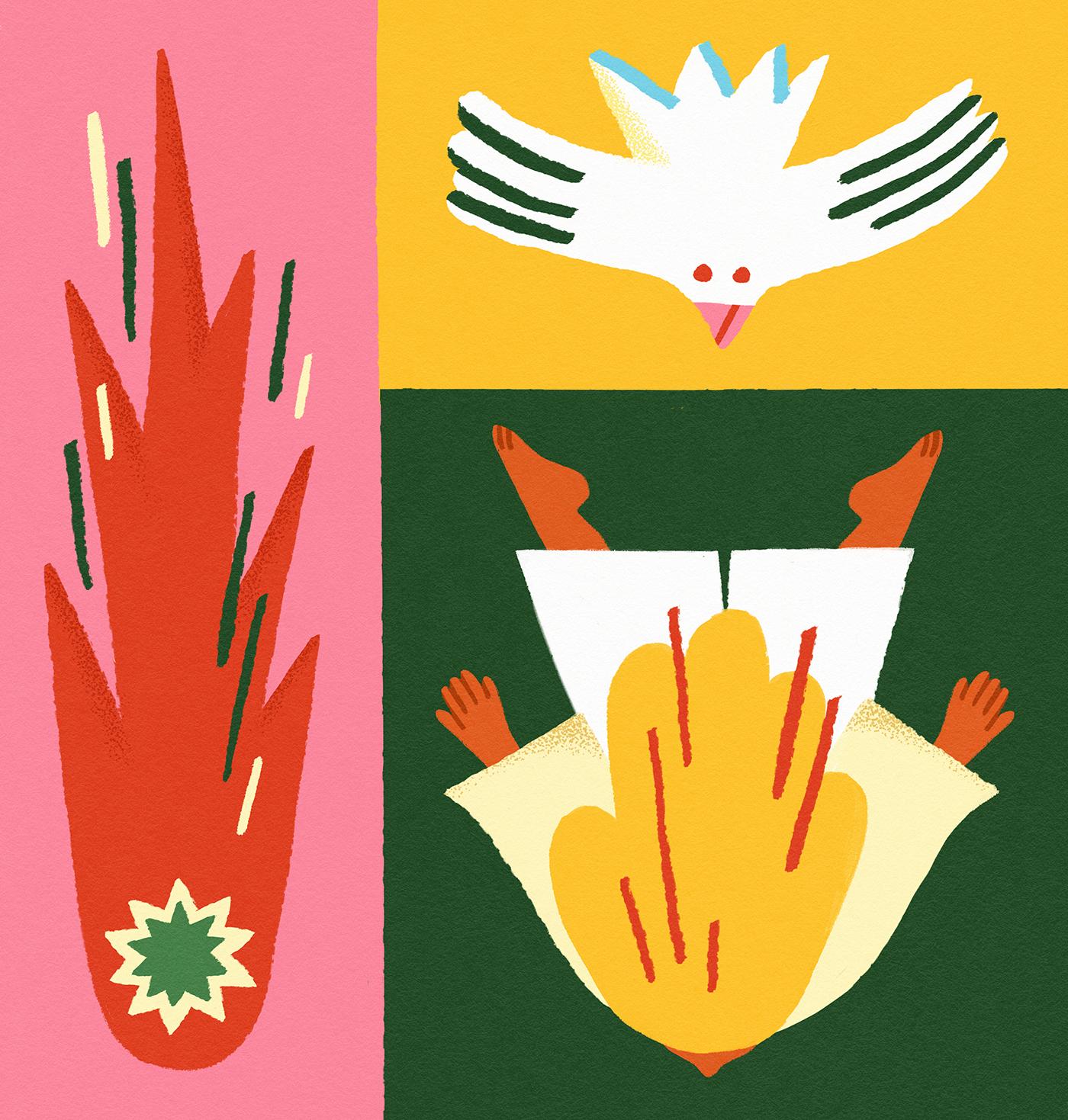 crashing-falling-woman-bird-comet-meteor-pattern-pink-red-green-illustration-violeta-noy